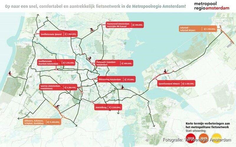 Overheden Metropoolregio Amsterdam bundelen investeringen voor hoogwaardig fietsroutenetwerk