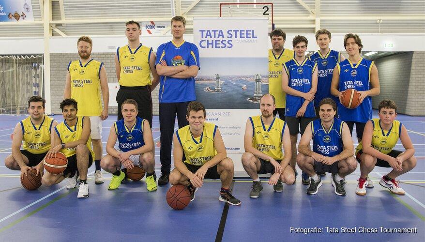 Grootmeesters Tata Steel Chess Tournament spelen basketbal