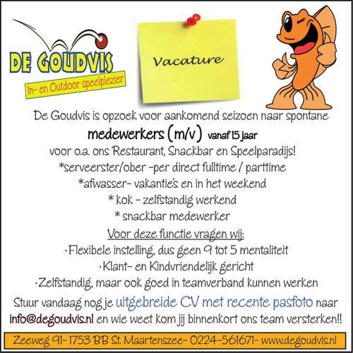 De Goudvis zoekt diverse medewerkers (m/v)